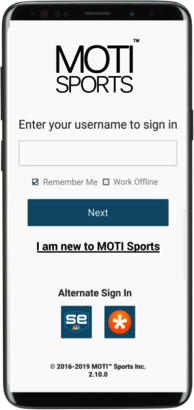 MOTI Phone Login Screenshot