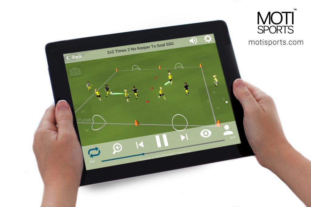 Image showing a MOTI Soccer app Drill on a Tablet