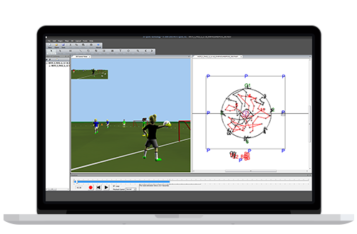 Image showing a MOTI Sports Play Simulation Software on a laptop